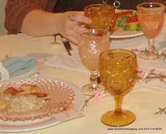 Pink and Amber Glass on Table for wedding decorations