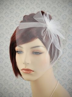 Blusher veil - white wedding veil with flower, simple wedding veil