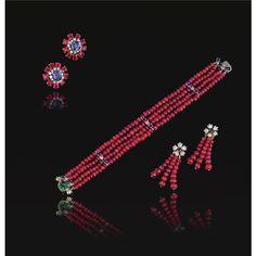 Ruby bead, sapphire, emerald and diamond demi-parure, plus ear clips.