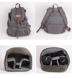 Hindawi Canvas DSLR Camera Case Shoulder Backpack Rucksack Bag With Waterproof Cover For Sony Canon Nikon Olympus-Gray