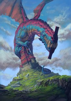 Fantasy Illustrations by Dogan Oztel Fantasy Monster, Monster Art, Fantasy Dragon, Dragon Art, Dragon Fight, Blue Dragon, Creature Feature, Creature Design, Dragon House
