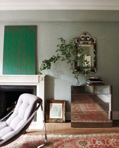living room - eclectic - living room - the COLORS!  What a great idea for art work over the fire place.
