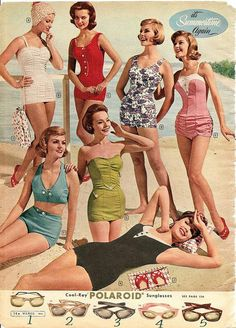 Retro Fashion swim suits and sunglasses. montgomery ward summer 1961 catalog - most of these are super cute swimsuits (except for the red, i'm not overly fond of that one) and the glasses are amazing. i want the pink pair, please. Moda Retro, Moda Vintage, Vintage Mode, Retro Vintage, Vintage Style, Vintage Bathing Suits, Vintage Bikini, Vintage Swimsuits, 1950s Bathing Suit
