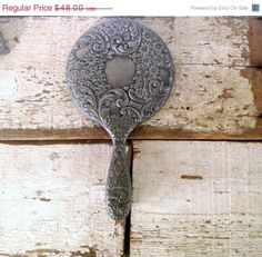 Beautiful, ornate pewter hand mirror by VerucasVintage on Etsy.com