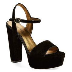 """Nine West 'Carnation' Platform Sandal, 5"""" heel ($70) ❤ liked on Polyvore featuring shoes, sandals, black velvet, platform shoes, high heel platform sandals, ankle strap sandals, black shoes and platform sandals"""