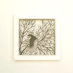 barn owl in oak tree . 5 x 5 . cut paper shadow box . by birdmafia
