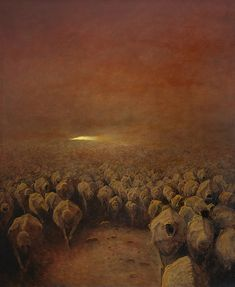 """Polish artist, Zdzisław Beksiński made a name for himself with his dystopian surrealism paintings, filled with post-apocalyptic imagery and nightmarish creatures. He said: """"I wish to paint in such a manner as if I were photographing dreams. Dark Fantasy Art, Dark Art, Art Bizarre, Creepy Art, Weird Art, Arte Horror, Horror Art, Surrealism Painting, Artist Painting"""