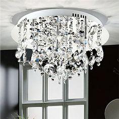Ceiling Lights - Flush Mount - Modern Crystal Flush Mount with 5 Lights Stainless Steel Base