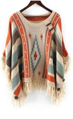 Love these Colors! Bat-Wing Colorful Striped Jacquard Sweater #Boho #Chic #Style…