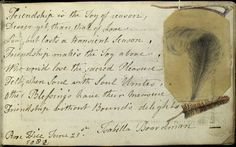 'Friendship is the joy of reason, ... ' (Isabella Boardman, Rose Hill, June 21st, 18?2.) (1795-1834)