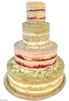 Colorful: This $675 four-tier Milk Bar cake is flavored with pistachio and strawberry lemon
