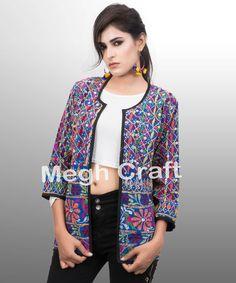Bohemian Patchwork Jacket- Handmade Embroidered Jacket- Gujarati Kutchi Jacket - woman embroidered jacket- BY#craftnfashion #meghcraft #vintagecraft #indiancrafts#indianethnicjewelry