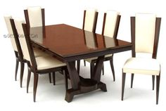 French Art Deco Dining Suite  Table, 6 chairs  In the manner of (possibly) Leleu  Circa Late 1930's, France
