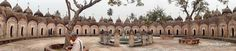 A panoramic shot of a part of 34 Shiva temples in inner circle of Naba Kailash temple, Kalna.