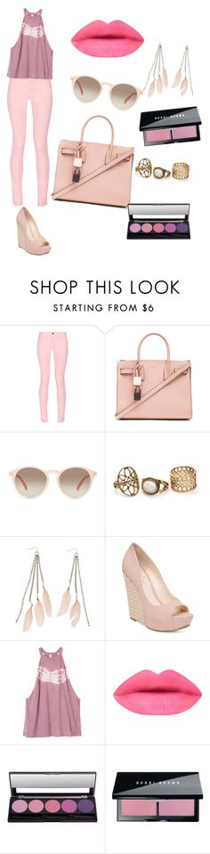 """""""pink and gold look"""" by arianater ❤ liked on Polyvore featuring Maison Kitsuné, Yves Saint Laurent, GlassesUSA, Charlotte Russe, Jessica Simpson, RVCA, Bobbi Brown Cosmetics and Pink"""