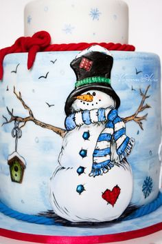 Snowman body is on a plaque. This allows the pile of snow on his hat to extend above the bottom tier.