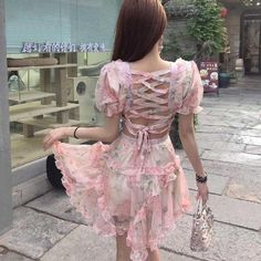 Tingfly Fashion Pink Designer Runway Dress Women'S Hollow Out Ruffles Floral Print Chiffon Mini Dress Sexy Backless Deep V Neck Size S Color pink short sleeve Club Dresses, Sexy Dresses, Vintage Dresses, Apple Shape Outfits, Backless Mini Dress, Cashmere Dress, Pink Fashion, Cotton Dresses, Sleeve Styles