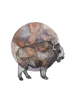 This is a painting by Allison Kunath. I love the geometric buffalo. I think the bison on its own would make a great tattoo.