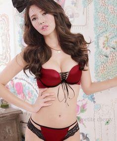Eloise Plunge Corset Bra-Style Set (Red) - Nhỏ Cherry