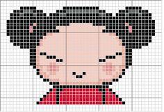 Free Pucca hama perler beads pattern or cross stitch chart