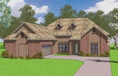 French Country Plan: 2,601 Square Feet, 4 Bedrooms, 3.5 Bathrooms - 348-00154