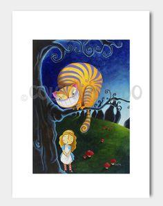 Illustrazioni - Illustrazione Stampa - Alice e lo stregatto  - un prodotto unico di Colorandando su DaWanda