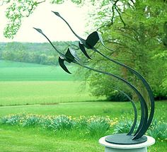 flying bird sculpture, swans in flight, flying geese ornament for gardens