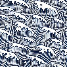 Sea Waves (vector Seamless Wallpaper) Stock Vector - Illustration of decor, water: 9210260 Japanese Patterns, Japanese Fabric, Japanese Prints, Japanese Textiles, Japanese Design, Japanese Art, Japanese Woodcut, Traditional Japanese, Textures Patterns