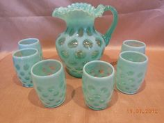 Fenton Green Opalescent Coin Dot Pitcher Jug w 6 Tumblers Glasses '80s ❤❤❤