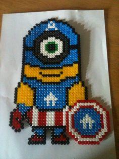 Captain America Minion hama perler beads by Ally Burgoyne