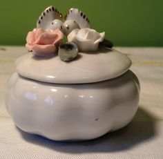 Vintage White Ceramic Trinket / Ring Box with Doves and Roses by CherishedAgain on Etsy