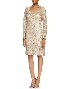 Long-Sleeve Sequined Lace Cocktail Dress by Sue Wong at Neiman Marcus.