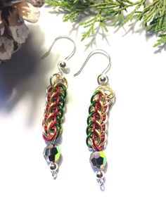 Christmas Chainmaille Earrings with Crystal Bead by LolaJ Christmas Material, Crystal Beads, Crystals, Gold And Silver Rings, Chainmaille, Weaving, Jewelry Making, Drop Earrings, Jewels