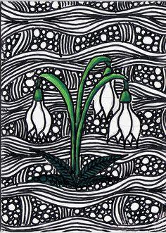 Snowdrops GG Paper Art, Paper Crafts, Susan Smith, Linoprint, Zentangle, Flower Art, Printing On Fabric, Street Art, Arts And Crafts