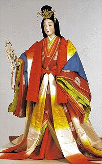 Japan: 12 Unlined Robes: costume consisted of 12 unlined garments of a variety of colors; can see small bands of each color up at the neck