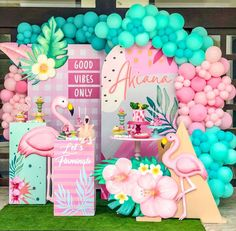 Flamingo Birthday, Flamingo Party, Pool Party Decorations, Backdrops For Parties, First Birthday Parties, Birthday Party Themes, Balloons Galore, Moana Themed Party, Tropical Party