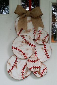 Cluster of Dirty Baseballs door hang, or make them Softballs Baseball Wall Decor, Baseball Nursery, Baseball Wreaths, Sports Wreaths, Baseball Crafts, Baseball Chair, Baseball Signs, Baseball Stuff, Rustic Christmas