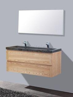 Lambini Designs Wood Stone badkamermeubel eiken 120cm, 2 kraangaten - sk707 | Sanitairkamer.nl