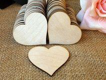50 Herz (6-7 cm) aus Holz   25,- 50 Stk. zum Beschriften für die Gäste