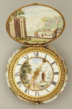 Vintage Watch Watchmaker: Jacques Goullons - Case And Dial: Painted Enamel On Gold; Movement Gilded Brass And Steel, Partly Blued - French, Paris Or Blois c. Old Clocks, Antique Clocks, Vintage Clocks, Antique Watches, Vintage Watches, Antique Jewelry, Vintage Jewelry, Antique Lace, Art Watch
