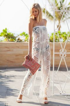 Miguelina White Women's Sheer Lace Off The Shoulder Jumpsuit - Beautiful Clothes Photo