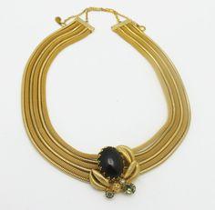 Vintage collana Hobe firmato Mesh oro e vetro di HeirloomBandB