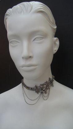 Silver SC Fleur D Lis Skull Choker 6098CH