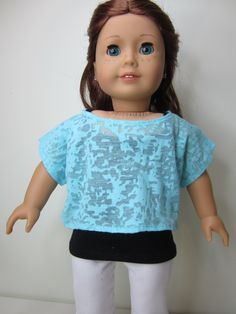 American Girl doll clothes-  Aqua burn out knit off the shoulder top .. $8.00, via Etsy.