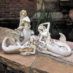 HomeStyles Life's a Beach Poseidon Ruler of the Sea Mermaid on Nautical Rock Statue & Reviews | Wayfair Mermaids And Mermen, Mermaid Art, Mermaid Statue, Mermaid Sculpture, Garden Statues, Mythical Creatures, 3 Piece, Antiques, Classic