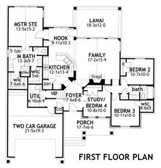 Craftsman Style House Plan - 4 Beds 2 Baths 1764 Sq/Ft Plan #120-176 Main Floor Plan - Houseplans.com