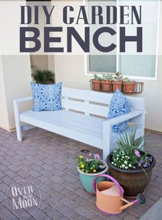 DIY Garden Bench - step by step tutorial that is easiest enough that a beginner could build it!  From www.overthebigmoon.com!