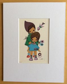 Jaklien Moerman Retro Postcard mounted and ready to frame Mother and Daughter