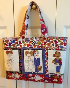 """Quilted Nursing Nurses Tote Bag 18"""" x 12"""" Multi Color RED BLUE GREEN Hearts Paisley $45"""
