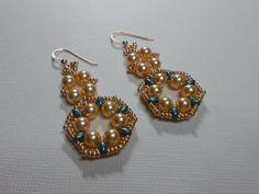 Hand Woven Gold Pearl Dangle Earrings with by SLeeKBeadedJewelry